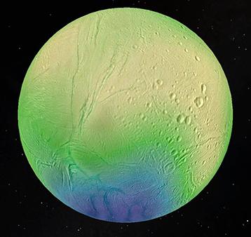 Immagine di Encelado con lo spessore del guscio di ghiaccio che lo avvolge rappresentato in falsi colori (giallo là dove lo spessore è maggiore, come nelle regioni equatoriali, e blu dove è minore, come al poslo sud). Crediti: LPG-CNRS-U. Nantes/U. Charles, Prague.