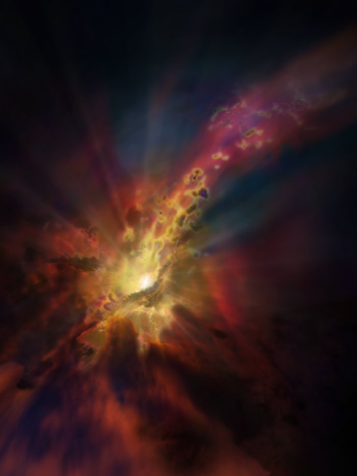 Nubi di condensazione di gas molecolare freddo intorno alla Galassia più brillante dell'Ammasso Abell 2597. Le nubi si condensano dal gas caldo e ionizzato che riempie lo spazio tra le galassie dell'ammasso. Crediti: NRAO/AUI/NSF; Dana Berry/SkyWorks; ALMA (ESO/NAOJ/NRAO)