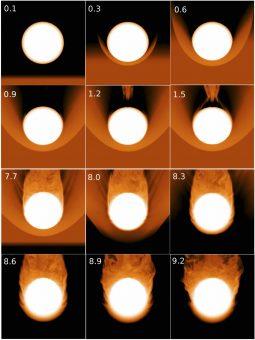 Una sequenza di fotogrammi sulla simulazione di una stella gigante rossa che entra e poi esce da un ammasso di gas formatosi da un disco di accrescimento. Il processo in questa configurazione si sviluppa nell'arco di quattro giorni. Crediti: Georgia Tech