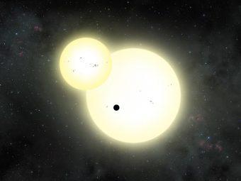 Rappresentazione artistica di un'eclissi stellare in simultanea con il transito planetario da parte di Kepler-1647 b. Crediti: Lynette Cook