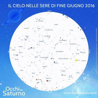 La mappa del cielo che potremo osservare la sera di sabato 25 giugno. Crediti: Associazione Stellaria