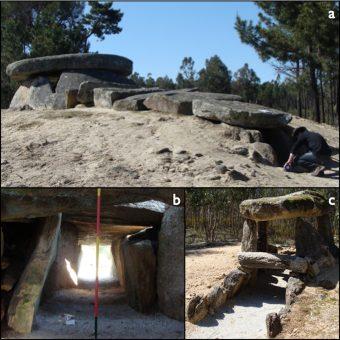 Il gruppo megalitico di Carregal do Sal, in Portogallo: a) Dolmen da Orca, una tipica struttura a dolmen; b) vista del passaggio e dell'entrata dall'interno della camera; c) Orca de Santo Tisco, un dolmen con un corridoio molto più stretto. Crediti: Fabio Silva