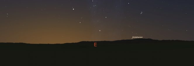 Vista verso est dal gruppo megalitico di Carregal do Sal all'alba di un giorno di fine aprile attorno al 4.000 A.C., ricostruita utilizzando un Digital Elevation Model e Stellarium. Aldebaran, l'ultima stella a sorgere prima del Sole, si alza direttamente sopra la Serra da Estrela, 'la catena montuosa della stella'. Crediti: Fabio Silva