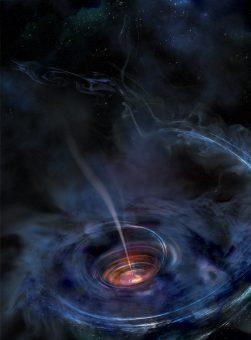 Rappresentazione artistica del disco di accrescimento attorno a un buco nero, prodotto dalla disgregazione per effetto mareale della materia che costituiva una stella. Credits: NASA/Swift/Aurore Simonnet, Sonoma State University