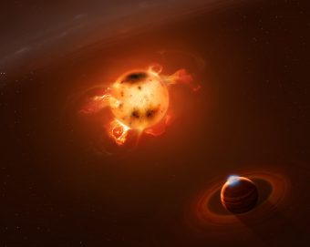 Rappresentazione artistica del sistema composto dalla stella giovanissima V830 Tau e dal suo pianeta. Crediti: Mark A. Garlick