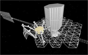 Il cantiere spaziale e robotico di un telescopio modulare nel rendering pubblicato sul Journal of Astronomical Telescopes, Instruments, and Systems (JATIS).