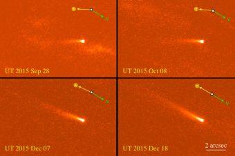 Immagini dell'asteroide attivo 324P/La Sagra prese dal telescopio spaziale Hubble tra settembre e dicembre del 2015. Crediti: Jewitt et al., 2016