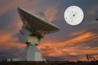 La stazione deep-space dell'ESA a Malargüe, in Argentina. Nel riquadro, la quasar P1514-24. Crediti: ESA/D. Pazos