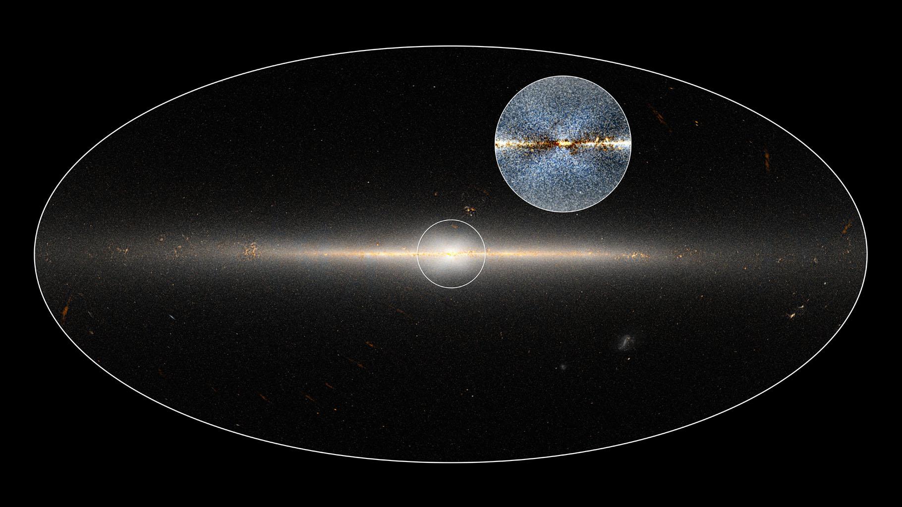 Il dettaglio nel cerco raffigura una versione migliorata della regione centra della nostra galassia e della struttura a forma di X. Crediti: NASA/JPL-Caltech/D.Lang