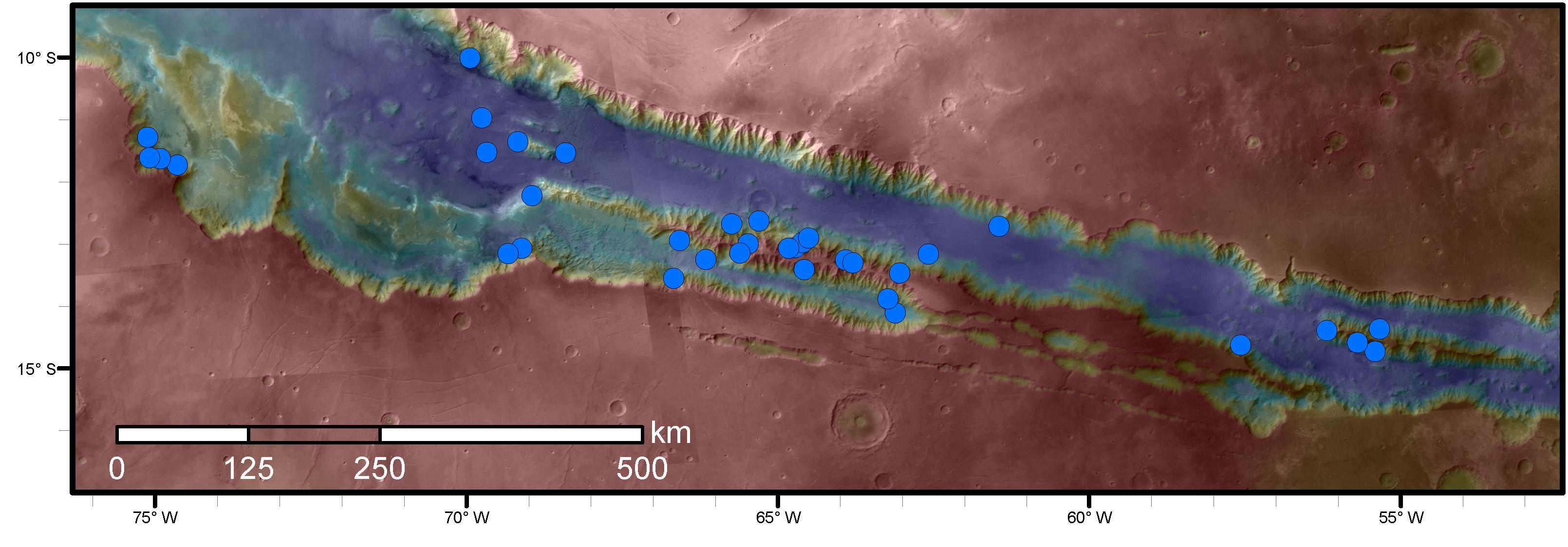 Tracce d'acqua anche nei canyon marziani?