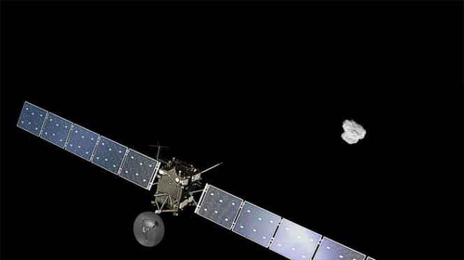Crediti. La sonda: ESA/ATG medialab. La cometa: ESA/Rosetta/NavCam – CC BY-SA IGO 3.0