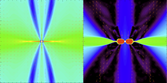 Nel grafico a sinistra, distribuzione di densità in una nube di gas collassante per la distribuzione standard di granulometrie. Anche se c'è una concentrazione verso il centro, il disco non risulta rotazionalmente abbastanza stabile per formare stelle e pianeti. Nel grafico di destra sono stati tolti i grani più piccoli: l'influsso sulla quantità di moto angolare conduce a un disco sostenuto rotazionalmente molto più grande. Crediti: MPE