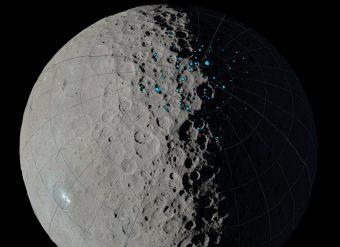 """Mappa delle """"cold trap"""" dell'emisfero nord di Cerere. Crediti: NASA/JPL-Caltech / UCLA / MPS / DLR / IDA"""