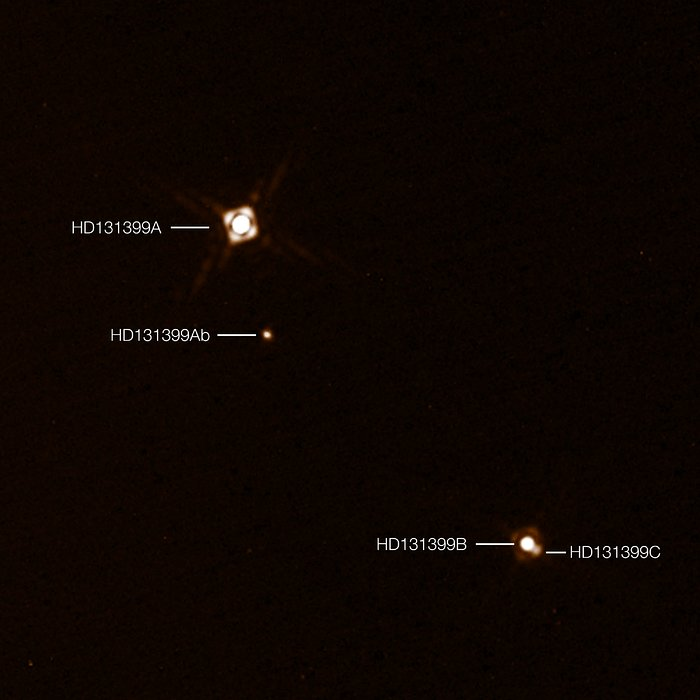 Questa immagine composita con note mostra l'esopianeta HD 131399Ab appena scoperto nel sistema stellare triplo HD 131399. L'immagine del pianeta è stata ottenuta con la camera di SHPERE montato sul VLT (Very Large Telescope) dell'ESO in Cile. È il primo esopianeta scoperto da SPHERE e uno dei pochi di cui sia stato possibile ottenere una fotografia. La temperatura di circa 580 gradi C e la massa stimata a circa quattro volte la massa di Giove ne fanno uno degli esopianeti più freddi e meno massicci di cui sia stata ottenuta un'immagine diretta. Questa immagine è stata ottenuta da due diverse osservazioni con SPHERE: una per rendere le tre stelle e l'altra per rivelare il pianeta molto fioco. Il pianeta appare perciò in questa immagine molto più brillante della realtà, in confronto con le stelle. Crediti: ESO/K. Wagner et al.