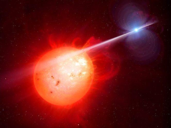 Rappresentazione artistica che mostra lo strano oggetto AR Scorpii: una nana bianca in rapida rotazione (a destra) accelera gli elettroni fino a una velocità prossima a quella della luce. Crediti: M. Garlick/University of Warwick/ESO
