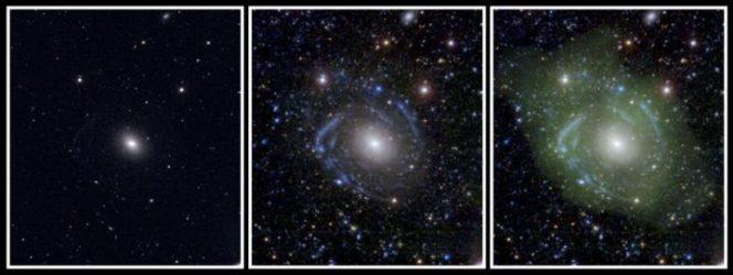 A sinistra UGC 1382 visto alle lunghezze d'onda visibili appare un semplice galassia ellittica. I bracci a spirale emergono se si osserva la galassia nell'ultravioletto, insieme a immagini profonde nella banda ottica (pannello centrale). Combinando i dati con la distribuzione di idrogeno a bassa densità (in verde a destra), gli scienziati hanno scoperto che UGC 1382 è in realtà una galassia gigantesca. Crediti: NASA/JPL/Caltech/SDSS/NRAO/L. Hagen e M. Seibert