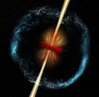 Illustrazione delle conseguenze della fusione di due stelle di neutroni, compresa la generazione di un lampo gamma. Al centro, un oggetto compatto - magnetar o buco nero – e, in rosso, un disco di materiale avanzato dalla fusione, in caduta verso l'oggetto compatto. L'energia prodotta da questo materiale produce il getto bipolare del GRB, evidenziato in giallo. Un vento di particelle (in arancione) spinge lontano il disco, mentre materiale espulso dall'oggetto compatto (in blu) si espandendo ad una velocità di circa un decimo quella della luce. Crediti: NASA/CXC/M.Weiss