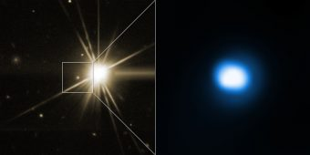 Osservazione dell'emissione residua del GRB 140903A in raggi X (sx) e in ottico (sx). La stella brillante non ha a che fare con il GRB, visibile invece all'interno del riquadro. Crediti: NASA/CXC/Univ. of Maryland/E. Troja et al, (dx); Lowell Observatory's Discovery Channel Telescope/E.Troja et al. (sx)