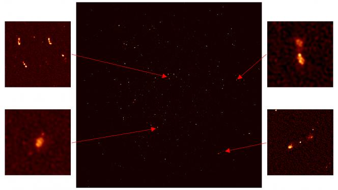 Le 16 antenne di MeerKAT hanno catturato ben 1300 galassie nell'Universo remoto. Nelle immagini a destra vediamo galassie distanti con al centro dei buchi neri. L'immagine in basso a sinistra mostra una galassia lontana circa 200 milioni di anni luce dove l'idrogeno viene utilizzato per formare nuove stelle. Crediti: SKA Africa