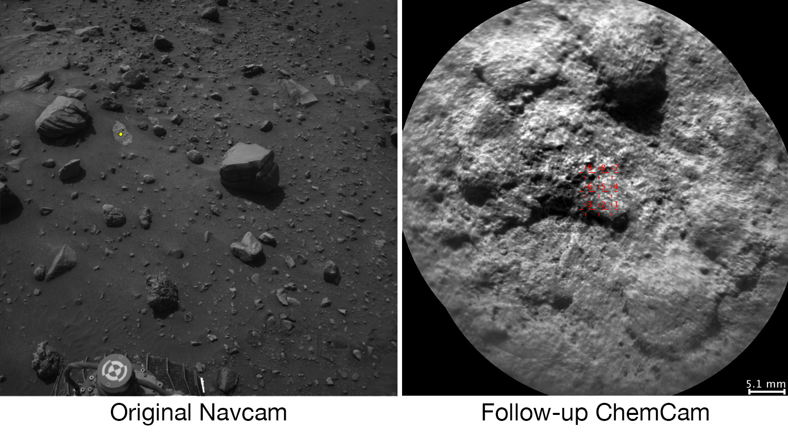Il rover Curiosity Curiosità Mars rover seleziona autonomamente alcuni obiettivi per il laser e telescopica fotocamera del suo strumento ChemCam. Ad esempio, a bordo il software analizza l'immagine NavCam a sinistra, ha scelto l'obiettivo indicato con un punto giallo, e indicò ChemCam per i colpi laser e l'immagine a destra. NASA's Curiosity Mars rover autonomously selects some targets for the laser and telescopic camera of its ChemCam instrument. For example, on-board software analyzed the Navcam image at left, chose the target indicated with a yellow dot, and pointed ChemCam for laser shots and the image at right. Crediti: NASA/JPL-Caltech/LANL/CNES/IRAP/LPGNantes/CNRS/IAS