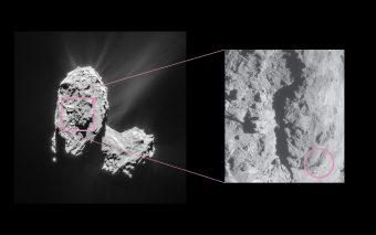 La zona del nucleo cometario dove si è innescato l'outburst. Crediti: ESA/Rosetta/NavCam – CC BY-SA IGO 3.0