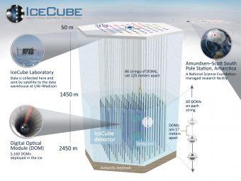 Rappresentazione schematica del funzionamento di IceCube. Crediti: University of Wisconsin-Madison