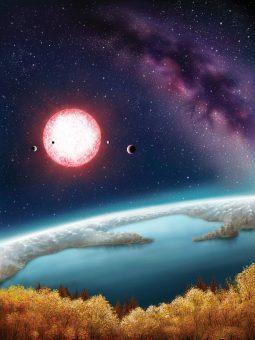 Kepler-186f, scoperto nel 2014 e qui mostrato in una rappresentazione artistica, è uno dei pianeti che si trovano nella zona abitabile della propria stella. Crediti: Danielle Futselaar
