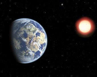 In questa rappresentazione artistica, una coppia di pianeti abitabili in orbita attorno a una nana rossa. Poiché le nane rosse sono moltolongeve, la probabilità che attorno a esse si sviluppi la vita cresce nel tempo. Di conseguenza, la vita terrestre potrebbe essere considerataprecoce.Crediti: Christine Pulliam (CFA)