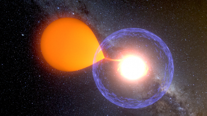 L'esplosione di una nova nel rendering di un artista. Crediti: K. Ulaczyk / Warsaw University Observatory.