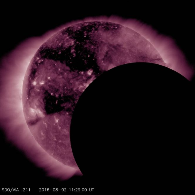 NASA's Solar Dynamics Observatory, or SDO, saw a lunar transit – when the moon passes between the spacecraft and the sun – on Aug. 2, 2016, from 7:13 a.m. to 8:08 a.m. EDT. Credits: NASA/SDO