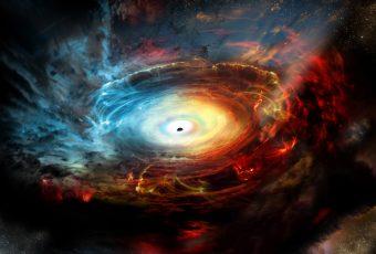Rappresentazione artistica del cuore della galassia NGC 1068. Crediti: NRAO/AUI/NSF; D. Berry / Skyworks
