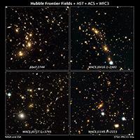 In questa immagine sono messi insieme 4 dei cluster di galassie che rappresentano il target del progetto Frontier Fields. In senso orario dalla prima immagine in alto a sx: Abell 2744, MACS J0416.1-2403, MACS J0717.5+3745 e MACS J1149.5+2223. Crediti: NASA, ESA, and J. Lotz and M. Mountain (STScI)