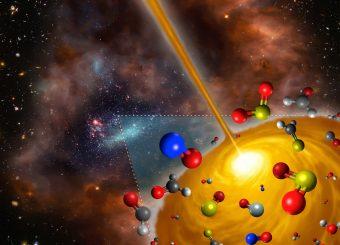 Rappresentazione artistica CHE mostra le molecole trovate nel nucleo molecolare caldo recentemente scoperto nella Grande Nube di Magellano utilizzando ALMA. Questo nucleo è il primo oggetto di questo tipo trovato al di fuori della Via Lattea e ha un'impronta chimica diversa da quella comune nella nostra Galassia. L'immagine è l'elaborazione di materiale da varie fonti: ESO/M. Kornmesser; NASA, ESA, e S. Beckwith (STScI) e HUDF Team; NASA/ESA e Hubble Heritage Team (AURA/STScI)/HEI. Crediti:FRIS/Tohoku University