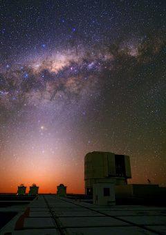 Un suggestivo tramonto dal sito del Very Large Telescope in Cile. Oltre la Via Lattea, è ben visibile bassa sull'rizzonte la luce zodiacale, prodotta dalla riflessione della luce del Sole da parte delle polveri che permeano il piano del sistema solare. Crediti: Babak Tafreshi, ESO