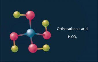 Struttura molecolare dell'acido ortocarbonico, noto anche come acido di Hitler. Crediti: MIPT Press office