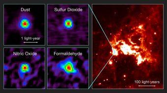 A sinistra: alcuni esempi della distribuzione dell'emissione in riga dal nucleo molecolare caldo nella Grande Nube di Magellano osservata da ALMA: polvere (Dust), anidride solforosa (SO2 - Sulfur Dioxide), ossido di azoto (NO - Nitric Oxide) e formaldeide (H2CO - Formaldeheyde). A destra: un'immagine infrarossa della regione di formazione stellare circostante (basata su dati del telescopio spaziale Spitzer della NASA). Crediti:T. Shimonishi/Tohoku University, ALMA (ESO/NAOJ/NRAO)
