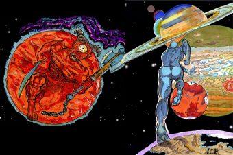 Anarchia nel cosmo. Tavola di Angelo Adamo