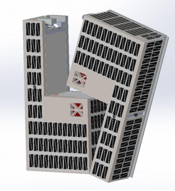 Rendering della separazione in volo dei due moduli a 'elle' del CubeSat progettato dai Cislunar Explorers. Crediti: Kyle Doyle