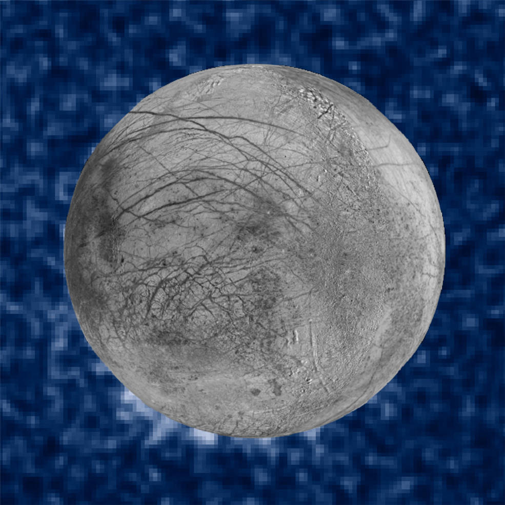 This composite image includes data from Hubble's Space Telescope Imaging Spectrograph, which shows suspected plumes of water vapor erupting at the 7 o'clock position off the limb of Jupiter's moon Europa. The image of Europa, superimposed on the Hubble data, is assembled from data from the Galileo and Voyager missions.  Object Name: Europa  Image Type: Astronomical/Annotated  Credit: NASA, ESA, W. Sparks (STScI), the USGS Astrogeology Science Center, and Z. Levay (STScI)