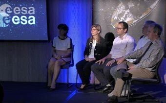 I cinque scienziati presenti alla conferenza stampa internazionale. Da sinistra: Gisella Clementini, Antonella Vallenari, Anthony Brown, Timo Prusti e Fred Jansen