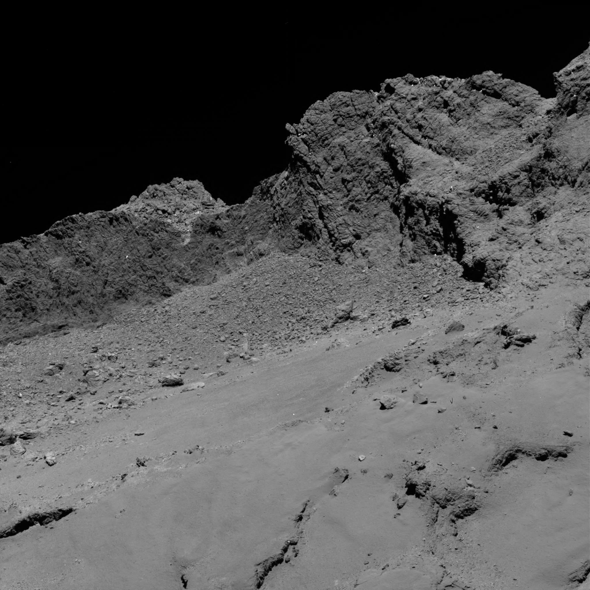 La cometa vista da 16 km con la narrow-camera dello strumento Osiris. Crediti: ESA/Rosetta/MPS for OSIRIS Team