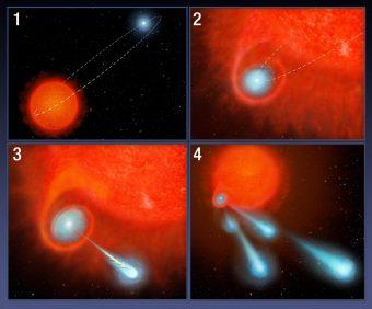 """Ecco come la coppia di stelle V Hydrae sta """"sparando"""" vere e proprie palle di plasma nello spazio. Crediti: NASA, ESA, A. Feild (STScI)"""