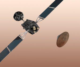 Rappresentazione artistica della missione ExoMars 2016, composta da Trace Gas Orbiter e Schiaparelli. Crediti: ESA/AOES Medialab
