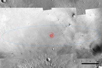 Ellisse di atterraggio di Schiaparelli, delle dimensioni di 100x15 km. La visuale è stata realizzata a partire da un'immagine raccolta dal Mars Reconnaissance Orbiter della NASA. Crediti: NASA/JPL/MRO Simulazione: ESA
