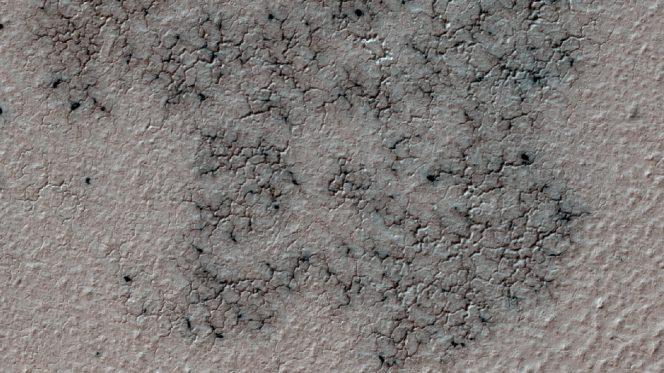 Questa immagine mostra i canali che attraversano tutta la superficie marziana. Nello specifico questi ricordano chiaramente la forma di un ragno. L'immagine è stata scattata lo scorso 12 settembre 2016 da HiRISE. Crediti: NASA/JPL-Caltech/Univ. of Arizona