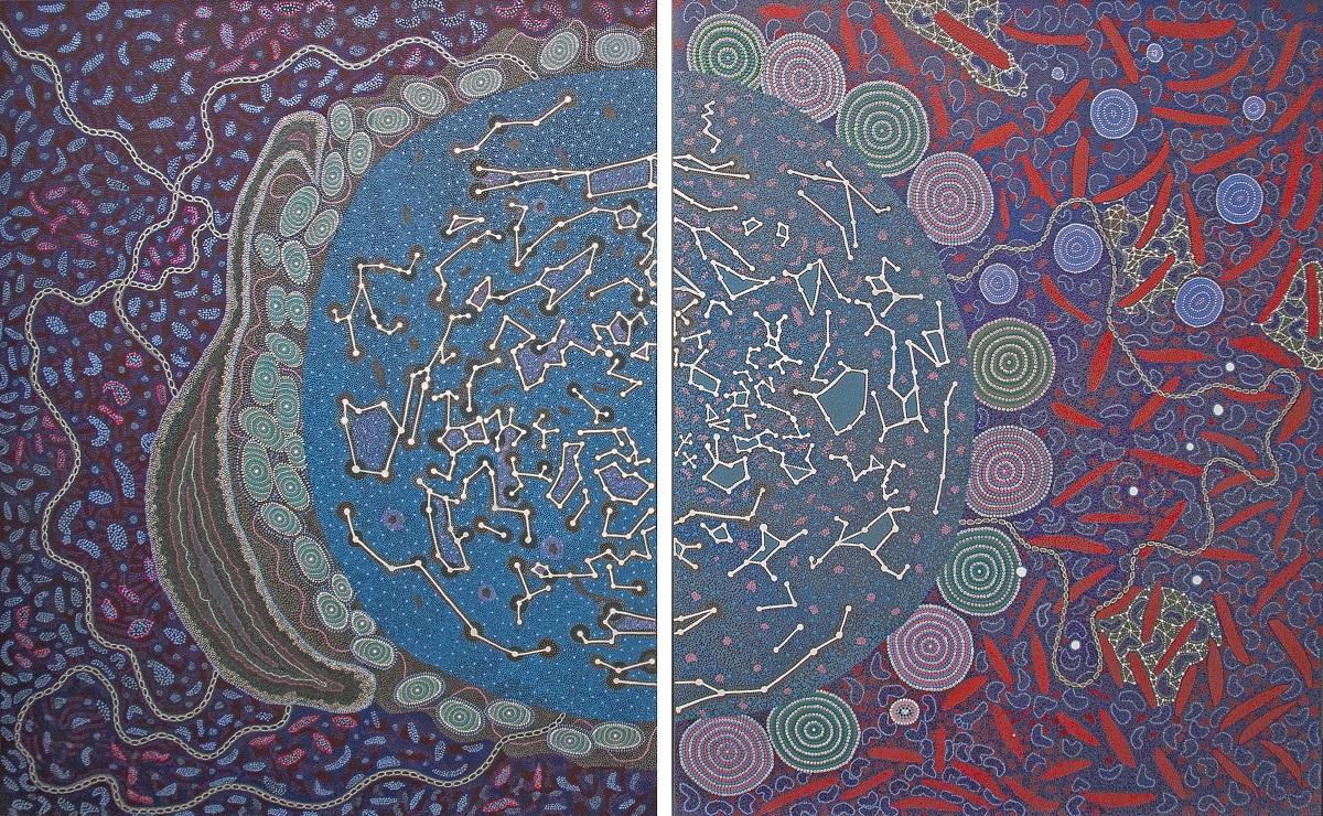 Ilgali Inyayimanha 'Shared Sky', di AA. VV., acrilico su tela, due pannelli 152.5cm x 122cm e 152.5cm x 122cm