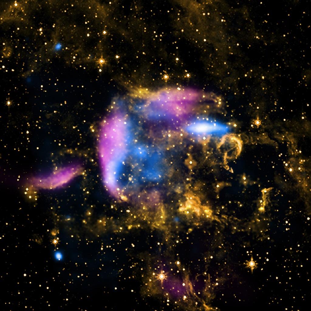 L'oggetto conosciuto come CTB 37A è un resto di supernova che si trova nella nostra Via Lattea a circa 20 mila anni luce dalla Terra. Questa immagine mostra che il campo di detriti incandescenti (raggi X in blu e onde radio in rosa) si sta espandendo in una nuvola di raffreddamento di gas e polvere visto in luce infrarossa (arancione). Crediti: X-ray: NASA/CXC/Morehead State Univ/T.Pannuti et al; Radio: Molonglo Obs. Synthesis Tel.; Infrared: NASA/JPL-Caltech
