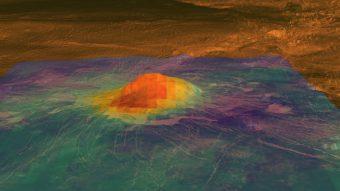 Mappa geologica di Idunn Mons (46 S; 146 W) in cui sono visibili i flussi di lava identificati. Crediti ESA/DLR