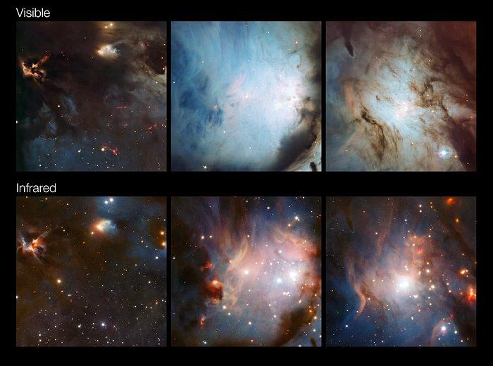 Questi ritagli messi a confronto mostrano come diverse parti del complesso di formazione stellare di Orione appaiono a differenti lunghezze d'onda. Nelle immagini infrarosse, ottenute dal telescopio VISTA (fila in basso) la polvere e' molto piu' trasparente che nelle immagini in luce visibile ottenute dal telescopio da 2,2 metri dell'MPG/ESO (fila in alto). Crediti: ESO/Igor Chekalin