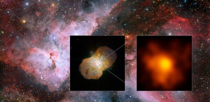 Questo mosaico mostra la Nebulosa Carena (a sinistra), che ospita il sistema stellare Eta Carinae, osservata con lo strumento WFI (Wide Field Imager) montato sul telescopio da 2,2 metri dell'MPG/ESO all'Osservatorio dell'ESO di La Silla. Il riquadro al centro mostra i dintorni della stella: la Nebulosa Omuncolo, creata dal materiale espulso dal sistema Eta Carinae, osservata dallo strumento NACO, che opera nel vicino infrarosso con ottica adattiva, montato sul VLT (Very Large Telescope) dell'ESO. L'immagine a destra è il cuore del sistema, osservato con l'Interferometro del VLT (VLTI). Quest'ultima è l'immagine a più alta risoluzione di Eta Carine mai ottenuta. Crediti: ESO/G. Weigelt